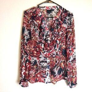 ❤️ TRIBAL Floral Sheer Long Sleeve Ruffle Blouse 4